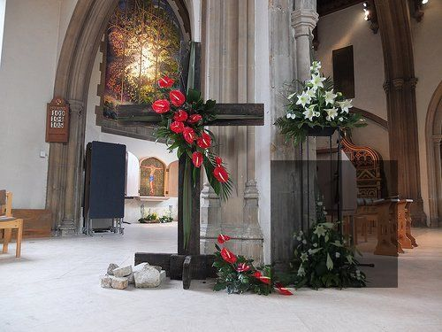 Easter Sunday cross in a church
