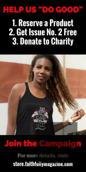 Get a tank top, free digital copy of Faithfully Magazine No. 2 and donate to charity.