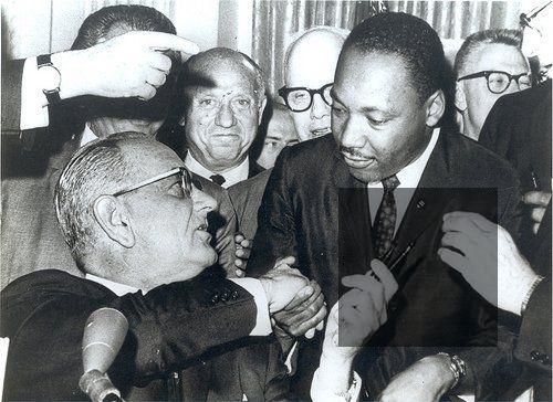 Martin Luther King Jr and President Lyndon B Johnson