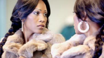 woman in mirror vanity