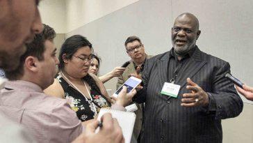 William Dwight McKissic Sr., pastor of Cornerstone Baptist Church in Arlington, Texas, speaks with reporters