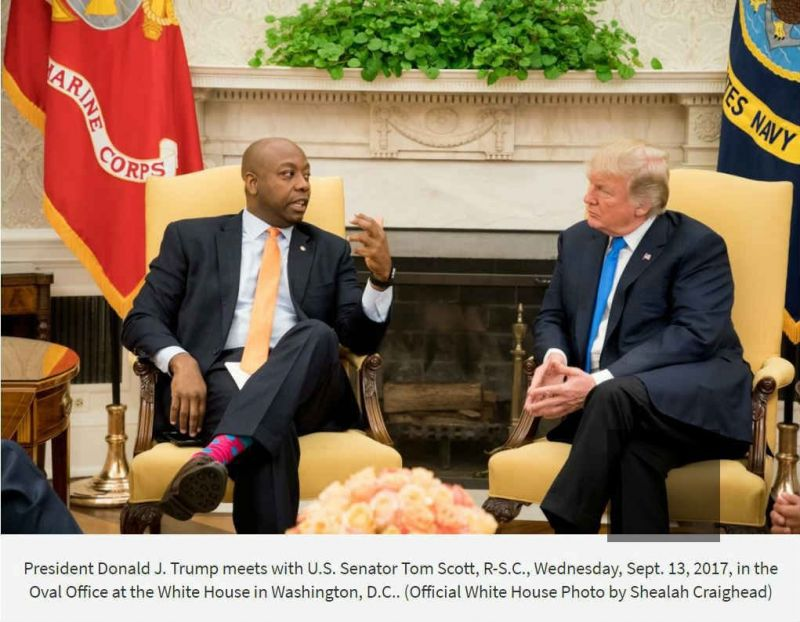 In the official photo released by the White House of Trump's meeting with the Republican senator from South Carolina, Tim Scott's name was misspelled.