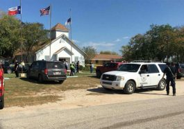 Emergency vehicles outside First Baptist Church in Sutherland Springs on Sunday, Nov. 5, 2017, where a mass shooting has taken place