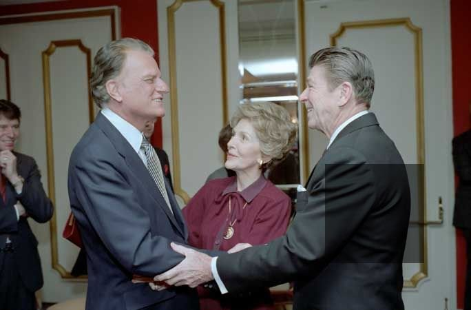 Evangelical Billy Graham and Ronald Reagan