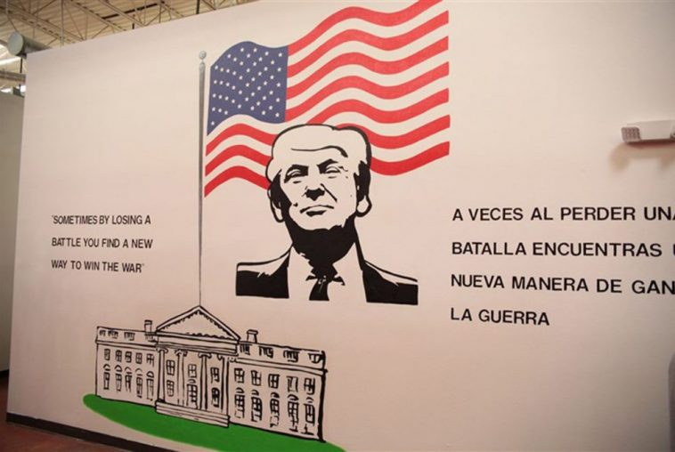 A mural of President Donald Trump in the Casa Padre immigrant shelter in Brownsville. The center is located in a store that was previously a Walmart. (Photo: U.S. Department of Health and Human Services)