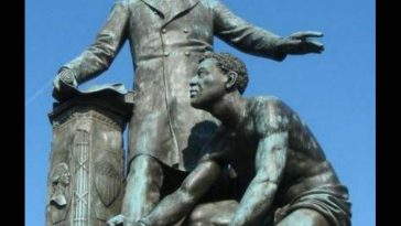Emancipation Memorial depicting President Abraham Lincoln and an enslaved man made to resemble Archer Alexander.