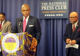 The Rev. Calvin Butts speaks during a news conference of the Progressive National Baptist Convention at the National Press Club, on Oct. 9, 2018, in Washington, D.C
