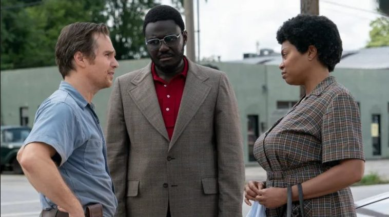 Sam Rockwell, Babou Ceesay and Taraji P. Henson in The Best of Enemies