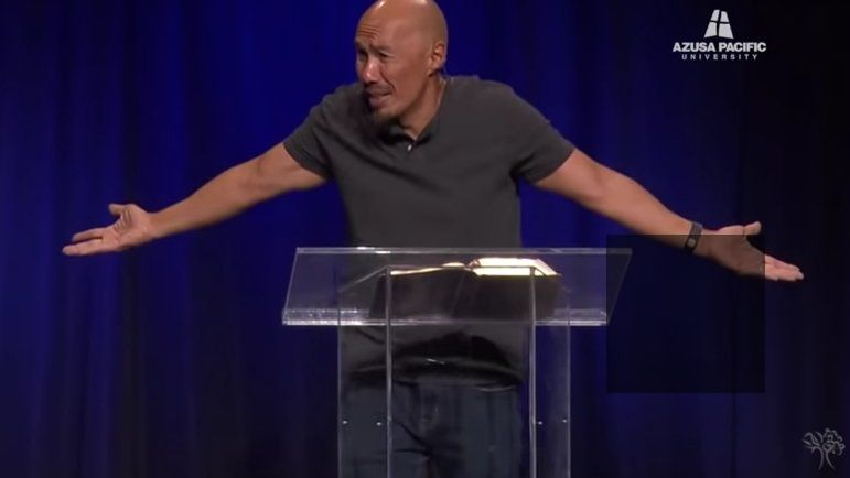 Francis Chan speaks during chapel at Azusa Pacific University in November 2019