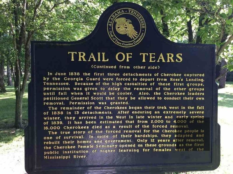 Cherokee Heritage Museum documents the Trail of Tears.