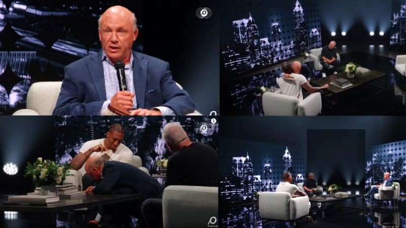 Chick-fil-A CEO Dan Cathy shined the shoes of Lecrae as Louie Giglio looked on during a June 14, 2020, discussion on race and the church