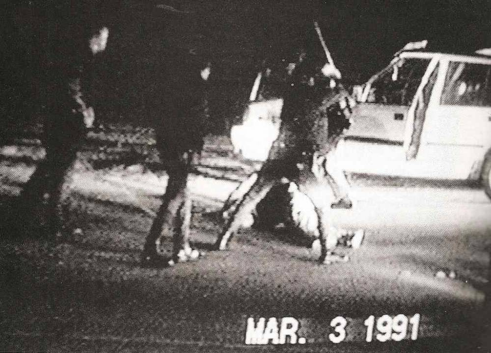 Los Angeles Police Department officers kicked and beat Rodney King