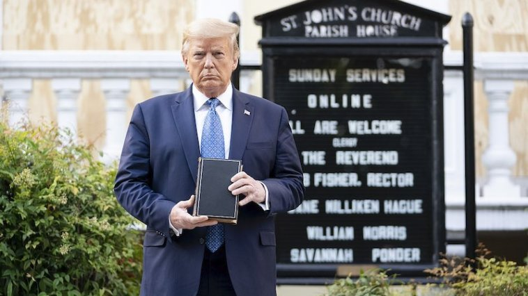 President Donald Trump stands outside St. John's Episcopal Church in Washington, DC