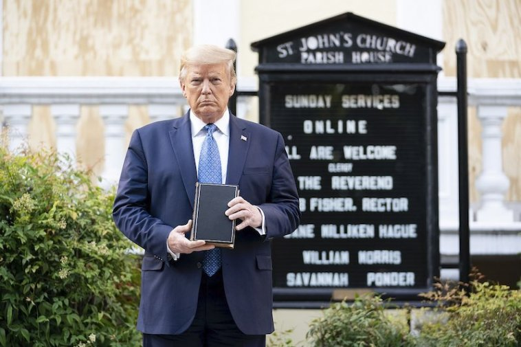 President Donald Trump stands outside St. John's Episcopal Church in Washington, DC