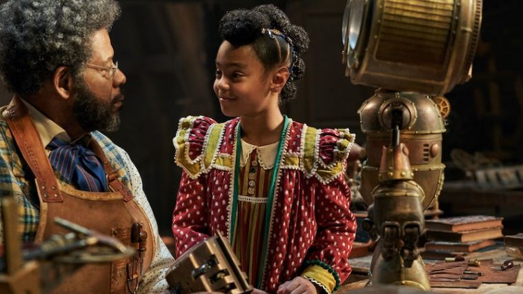 Forest Whitaker as Jeronicus Jangle and Madalen Mills as Journey Jangle in Jingle Jangle