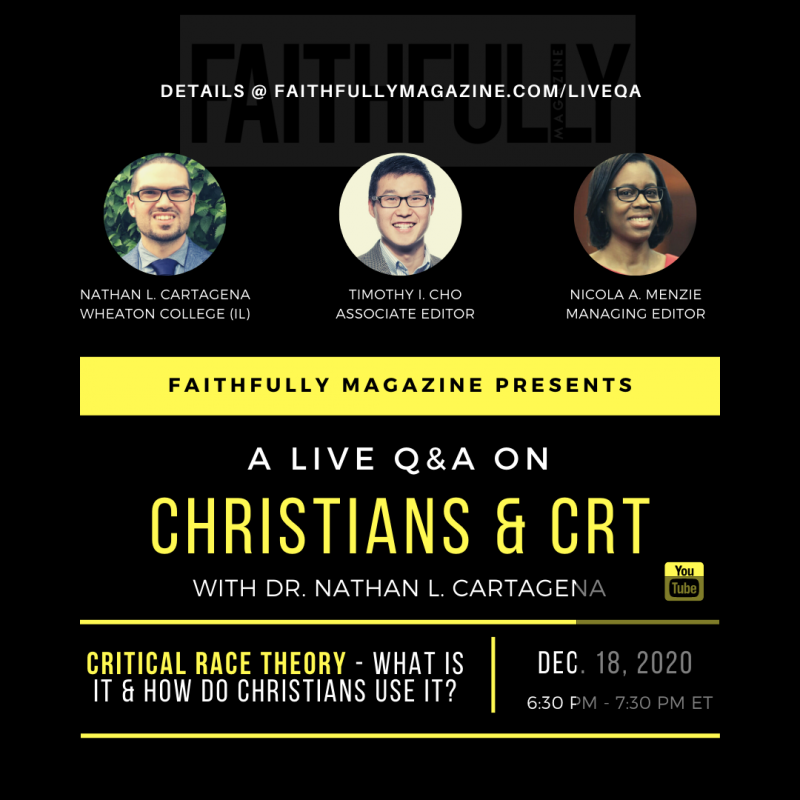 live q and a on Christians crt social media promo graphic