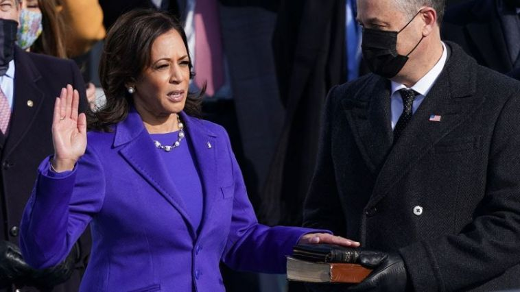 Kamala Harris was sworn in as the 49th vice president on January 20, 2021.