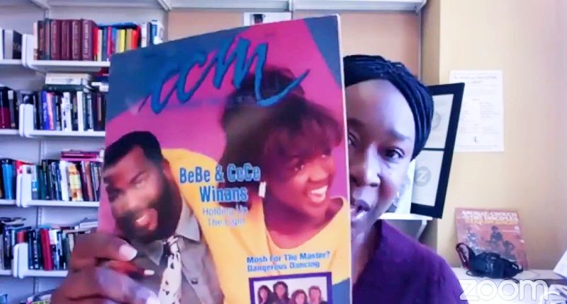 Claudrena Harold shows an old issue of CCM magazine with BeBe and CeCe Winans on the cover.