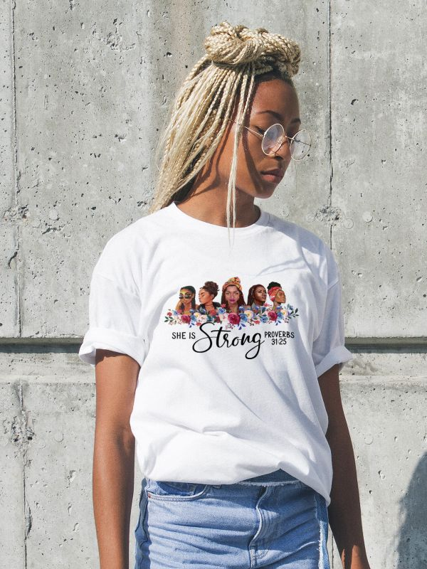 she is strong proverbs 31 t-shirt